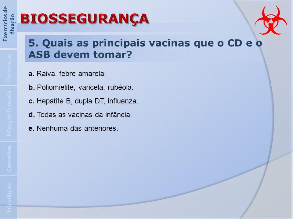 5. Quais as principais vacinas que o CD e o ASB devem tomar? Introdução Infecção Cruzada Prevenção Exercícios de fixação Conceitos a. Raiva, febre ama