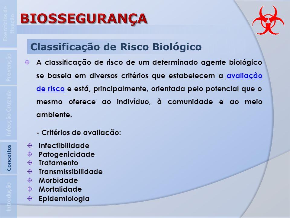 Classificação de Risco Biológico A classificação de risco de um determinado agente biológico se baseia em diversos critérios que estabelecem a avaliaç