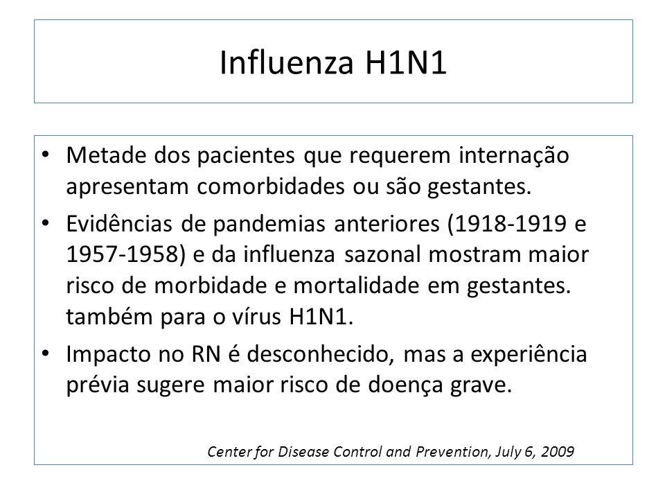 Influenza H1N1 Metade dos pacientes que requerem internação apresentam comorbidades ou são gestantes. Evidências de pandemias anteriores (1918-1919 e