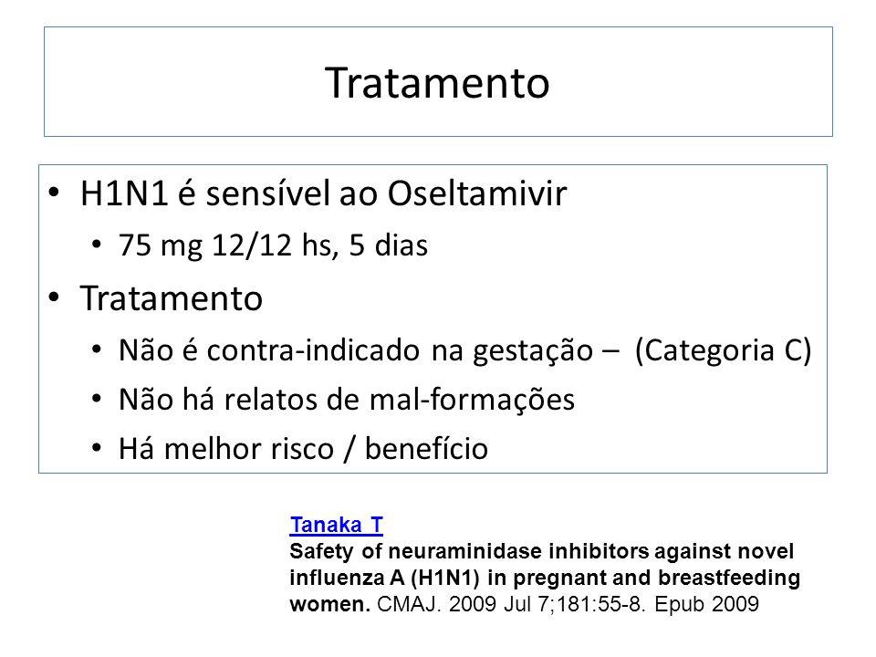 Tratamento H1N1 é sensível ao Oseltamivir 75 mg 12/12 hs, 5 dias Tratamento Não é contra-indicado na gestação – (Categoria C) Não há relatos de mal-fo