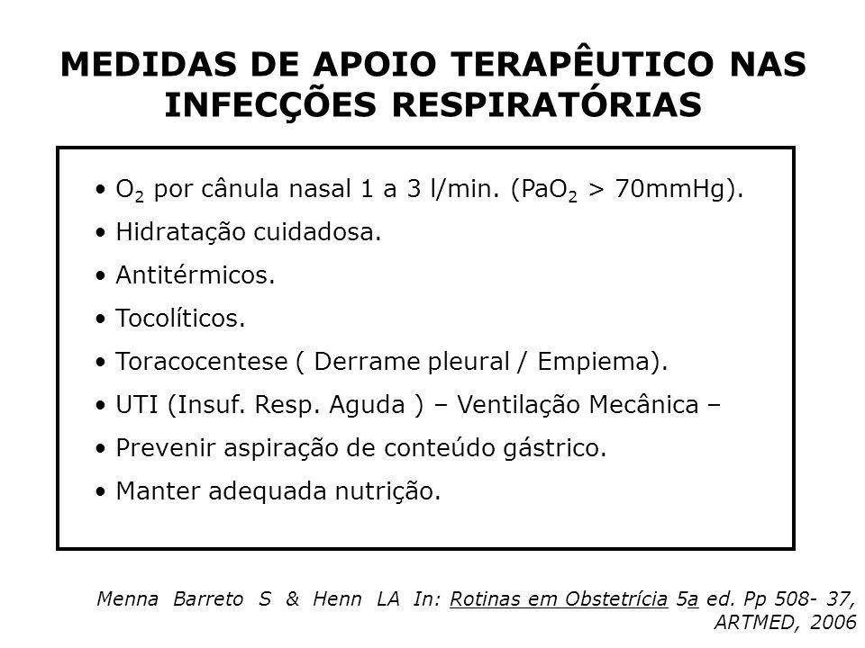 MEDIDAS DE APOIO TERAPÊUTICO NAS INFECÇÕES RESPIRATÓRIAS O 2 por cânula nasal 1 a 3 l/min. (PaO 2 > 70mmHg). Hidratação cuidadosa. Antitérmicos. Tocol