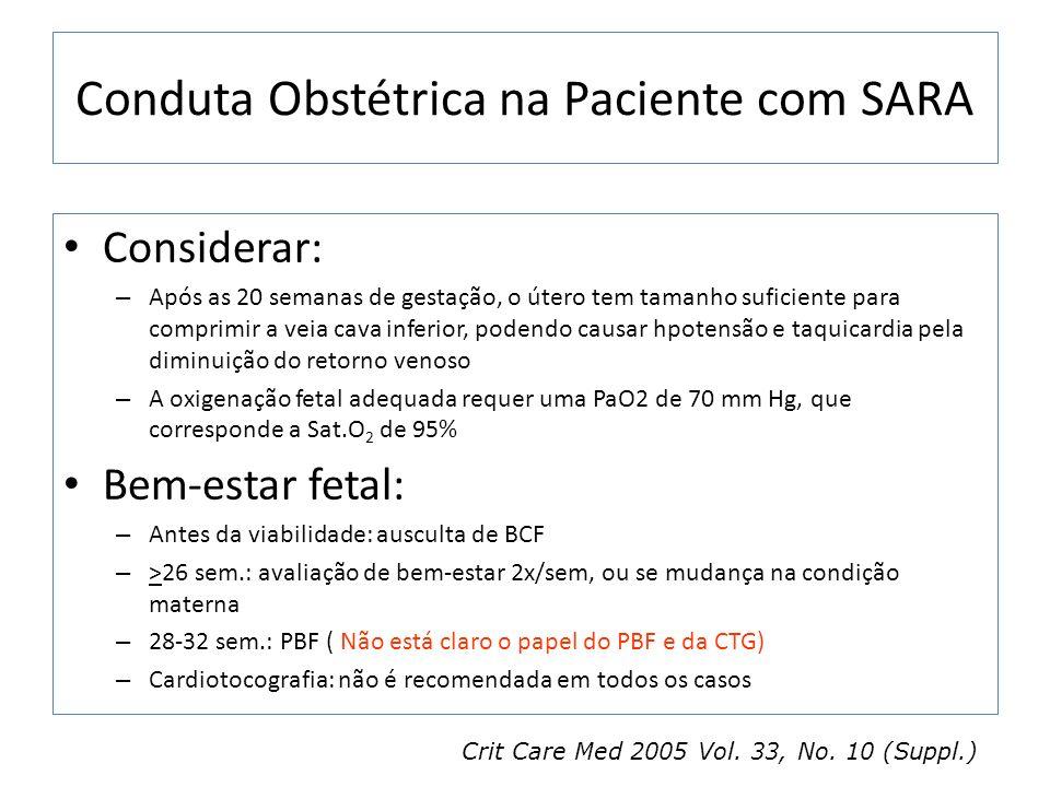 Conduta Obstétrica na Paciente com SARA Considerar: – Após as 20 semanas de gestação, o útero tem tamanho suficiente para comprimir a veia cava inferi