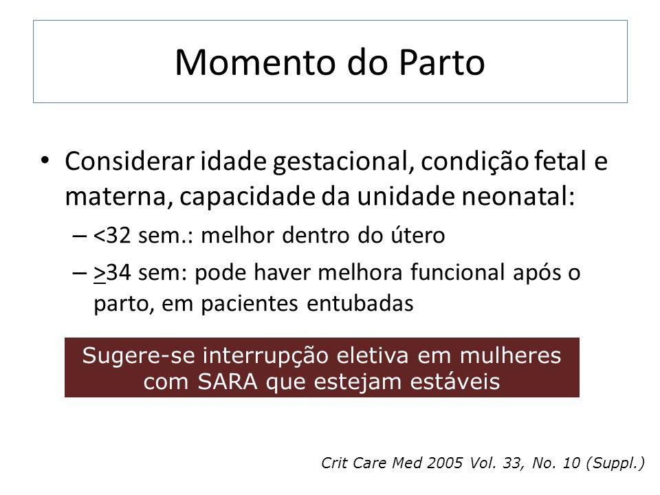 Momento do Parto Considerar idade gestacional, condição fetal e materna, capacidade da unidade neonatal: – <32 sem.: melhor dentro do útero – >34 sem: