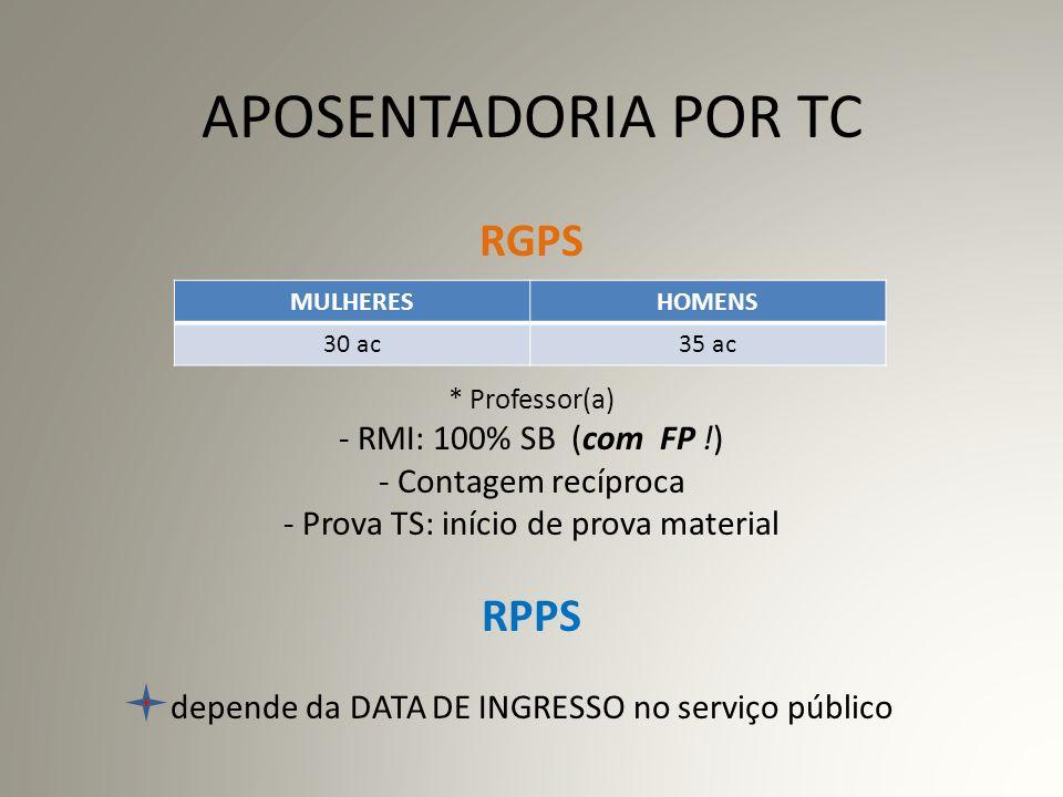 INGRESSANTES ANTES DA EC/20 (dez/98) DIREITO ADQUIRIDO ÀS REGRAS ANTIGAS - aposentadoria TS aos 30/35 a.s.