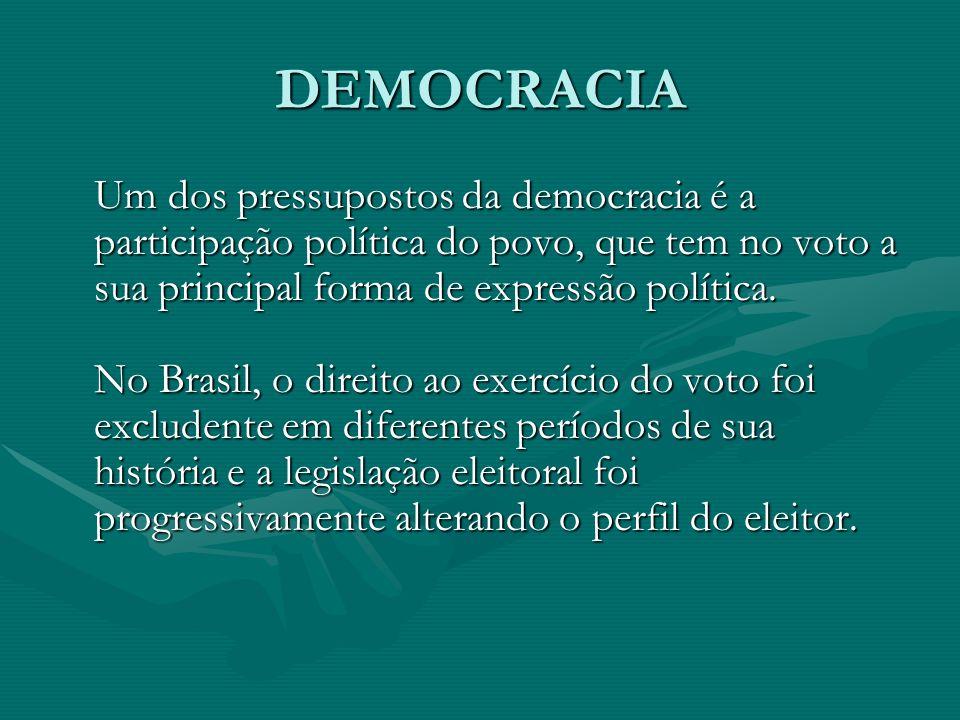 DEMOCRACIA Um dos pressupostos da democracia é a participação política do povo, que tem no voto a sua principal forma de expressão política.