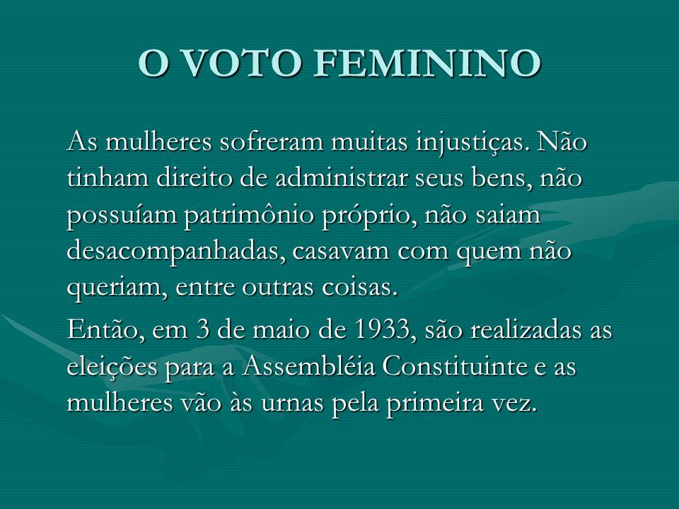 O VOTO FEMININO As mulheres sofreram muitas injustiças.