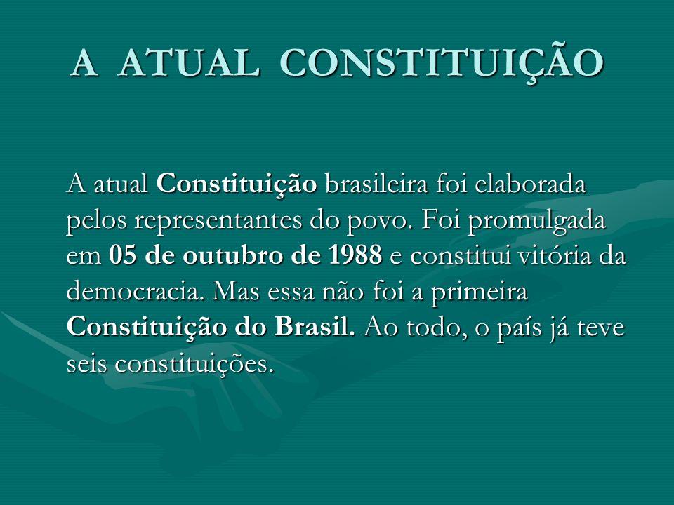A ATUAL CONSTITUIÇÃO A atual Constituição brasileira foi elaborada pelos representantes do povo.
