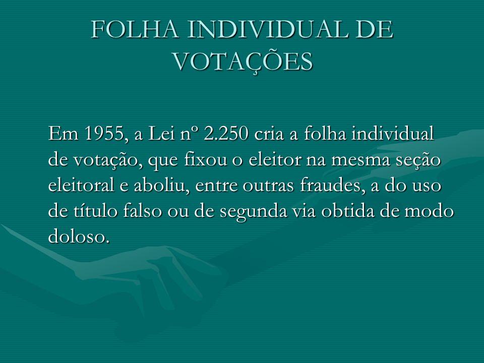 FOLHA INDIVIDUAL DE VOTAÇÕES Em 1955, a Lei nº 2.250 cria a folha individual de votação, que fixou o eleitor na mesma seção eleitoral e aboliu, entre outras fraudes, a do uso de título falso ou de segunda via obtida de modo doloso.