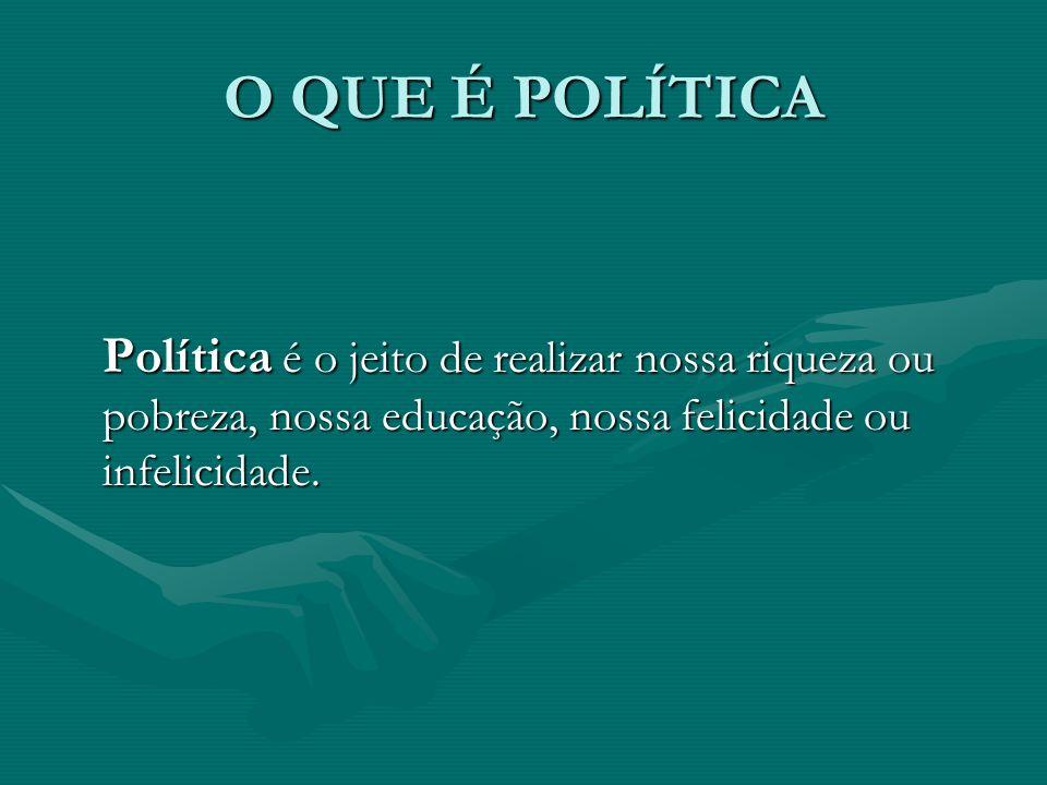 O QUE É POLÍTICA Política é o jeito de realizar nossa riqueza ou pobreza, nossa educação, nossa felicidade ou infelicidade.
