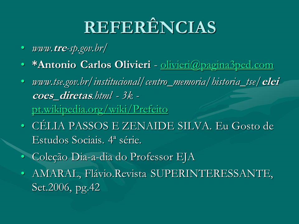 REFERÊNCIAS www.tre-sp.gov.br/www.tre-sp.gov.br/ *Antonio Carlos Olivieri - olivieri@pagina3ped.com*Antonio Carlos Olivieri - olivieri@pagina3ped.comolivieri@pagina3ped.com www.tse.gov.br/institucional/centro_memoria/historia_tse/elei coes_diretas.html - 3k - pt.wikipedia.org/wiki/Prefeitowww.tse.gov.br/institucional/centro_memoria/historia_tse/elei coes_diretas.html - 3k - pt.wikipedia.org/wiki/Prefeito pt.wikipedia.org/wiki/Prefeito CÉLIA PASSOS E ZENAIDE SILVA.