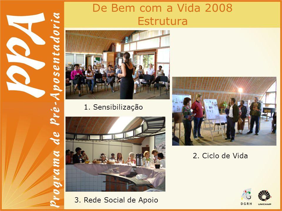 De Bem com a Vida 2008 Estrutura 1. Sensibilização 2. Ciclo de Vida 3. Rede Social de Apoio