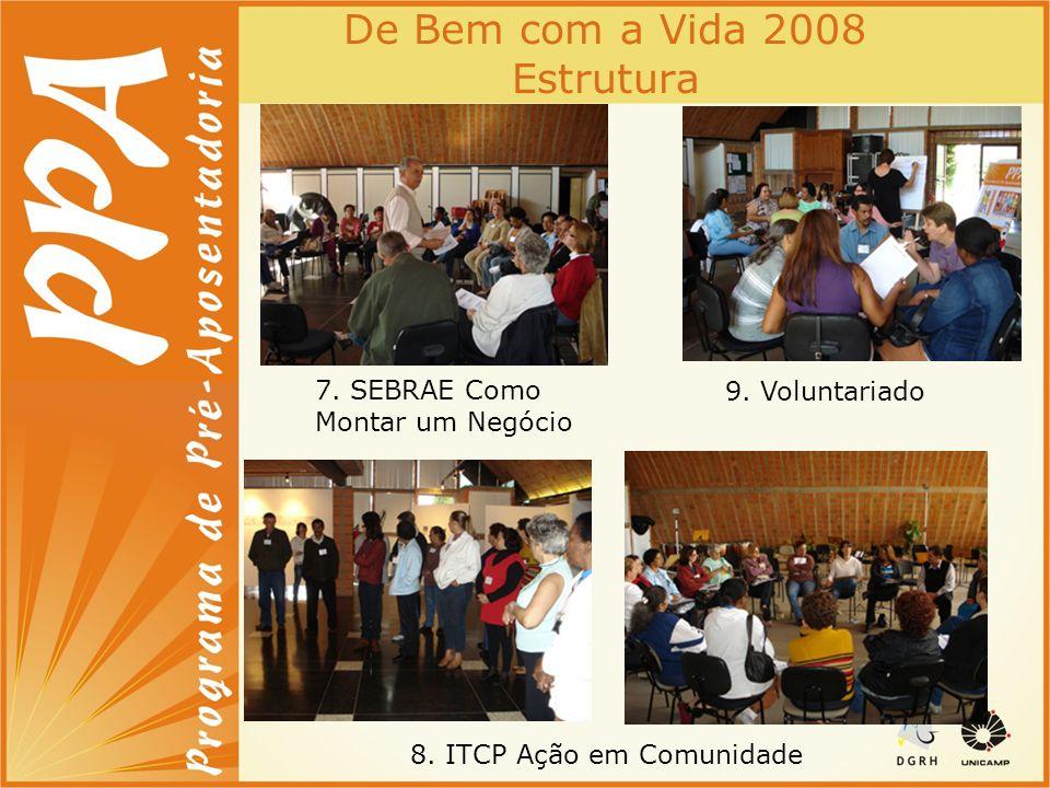 De Bem com a Vida 2008 Estrutura 7. SEBRAE Como Montar um Negócio 8. ITCP Ação em Comunidade 9. Voluntariado