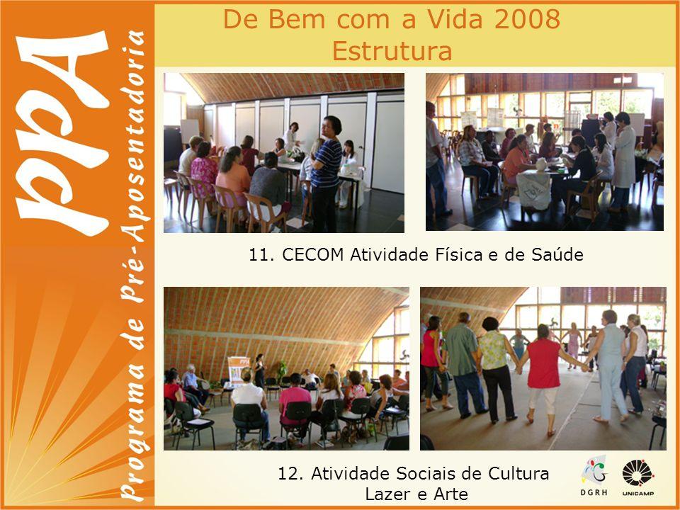 De Bem com a Vida 2008 Estrutura 11. CECOM Atividade Física e de Saúde 12. Atividade Sociais de Cultura Lazer e Arte