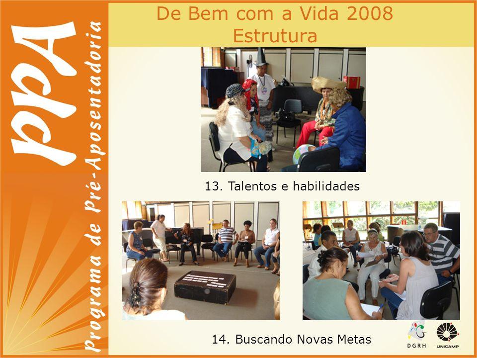 De Bem com a Vida 2008 Estrutura 13. Talentos e habilidades 14. Buscando Novas Metas