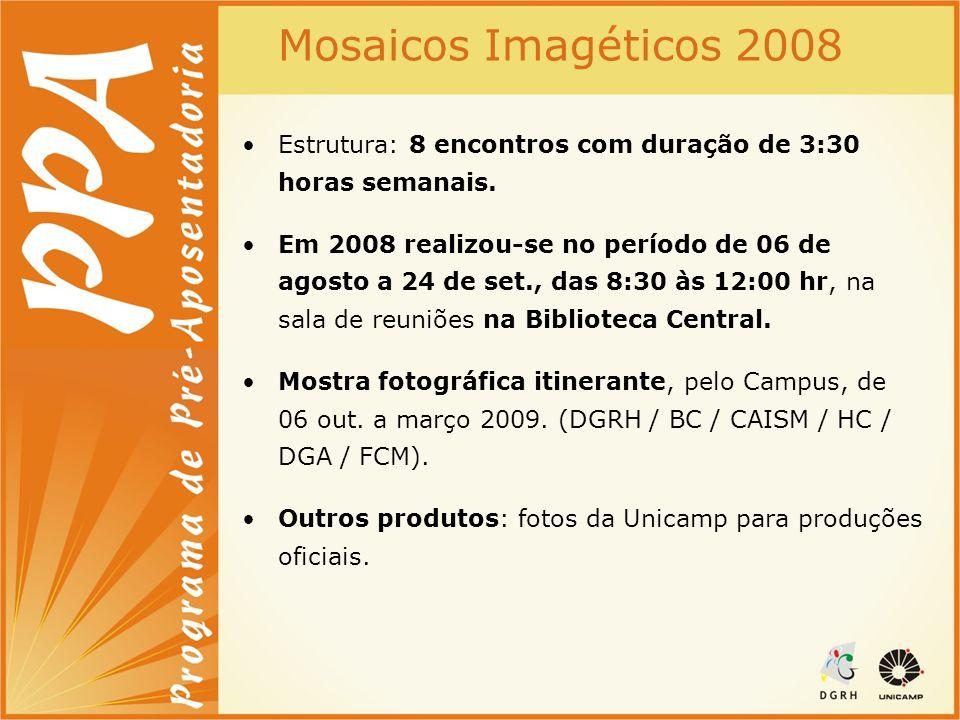 Mosaicos Imagéticos 2008 Estrutura: 8 encontros com duração de 3:30 horas semanais. Em 2008 realizou-se no período de 06 de agosto a 24 de set., das 8