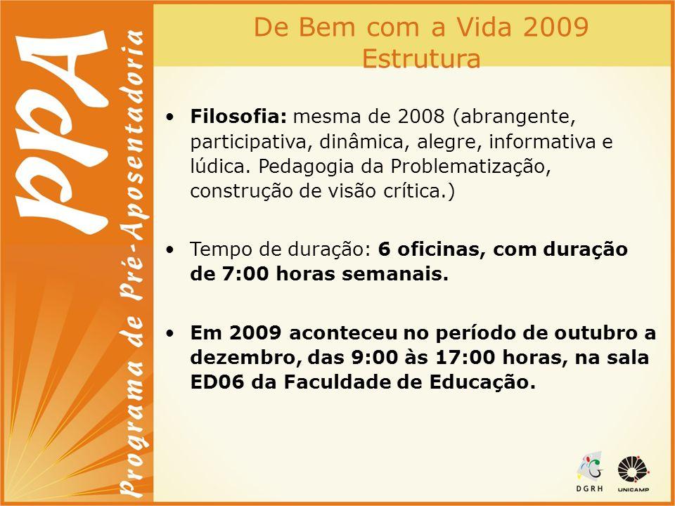 De Bem com a Vida 2009 Estrutura Filosofia: mesma de 2008 (abrangente, participativa, dinâmica, alegre, informativa e lúdica. Pedagogia da Problematiz