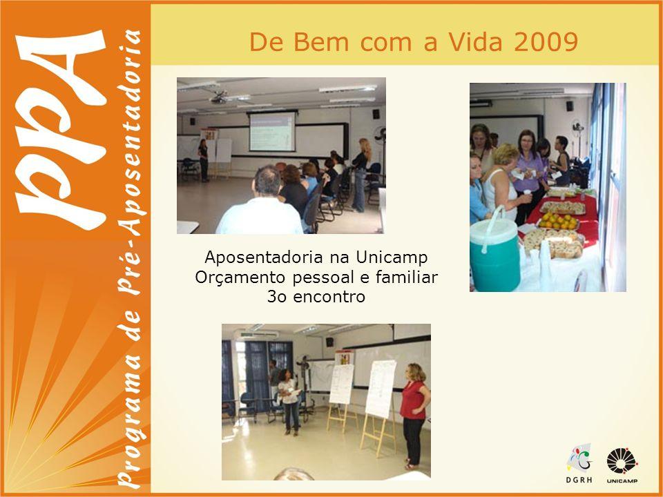 De Bem com a Vida 2009 Aposentadoria na Unicamp Orçamento pessoal e familiar 3o encontro