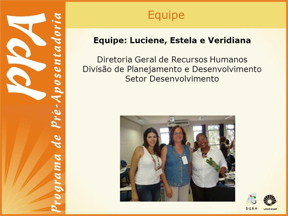 Equipe: Luciene, Estela e Veridiana Diretoria Geral de Recursos Humanos Divisão de Planejamento e Desenvolvimento Setor Desenvolvimento Equipe