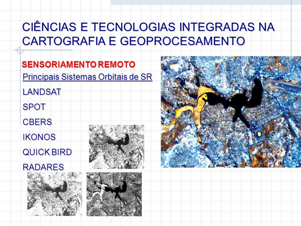 CIÊNCIAS E TECNOLOGIAS INTEGRADAS NA CARTOGRAFIA E GEOPROCESAMENTO SENSORIAMENTO REMOTO Principais Sistemas Orbitais de SR LANDSAT SPOT CBERS IKONOS Q