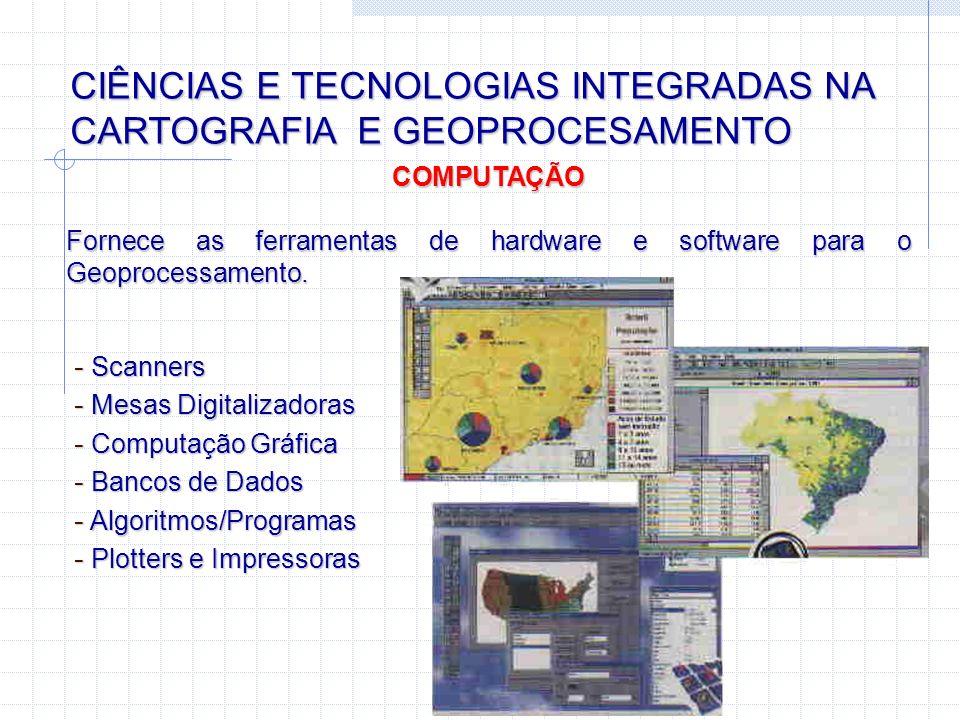 CIÊNCIAS E TECNOLOGIAS INTEGRADAS NA CARTOGRAFIA E GEOPROCESAMENTO COMPUTAÇÃO Fornece as ferramentas de hardware e software para o Geoprocessamento. -