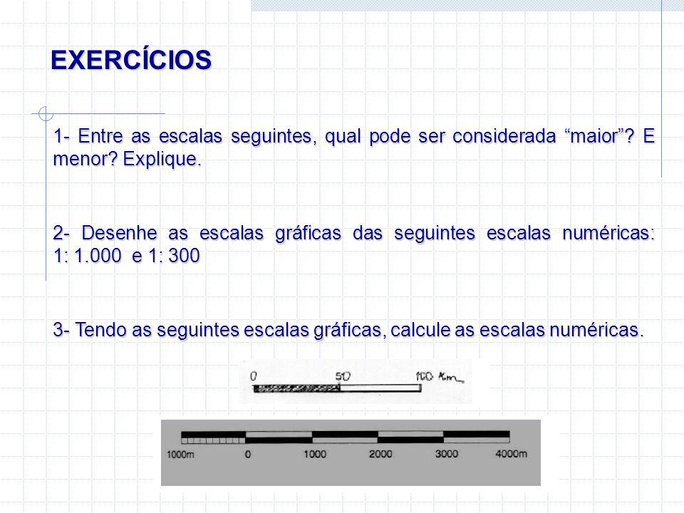 EXERCÍCIOS 1- Entre as escalas seguintes, qual pode ser considerada maior? E menor? Explique. 2- Desenhe as escalas gráficas das seguintes escalas num