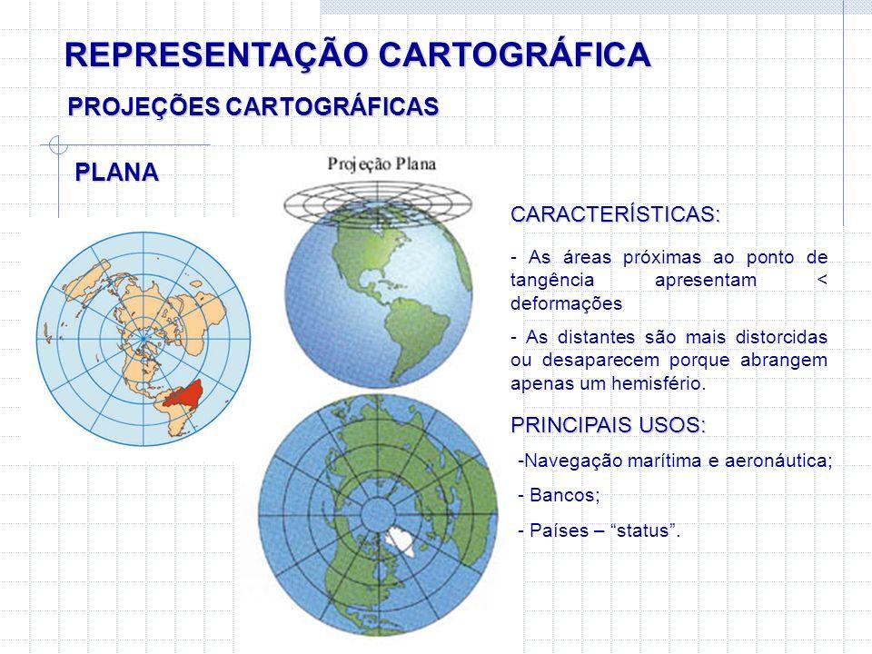 REPRESENTAÇÃO CARTOGRÁFICA PLANA PROJEÇÕES CARTOGRÁFICAS CARACTERÍSTICAS: - As áreas próximas ao ponto de tangência apresentam < deformações - As dist