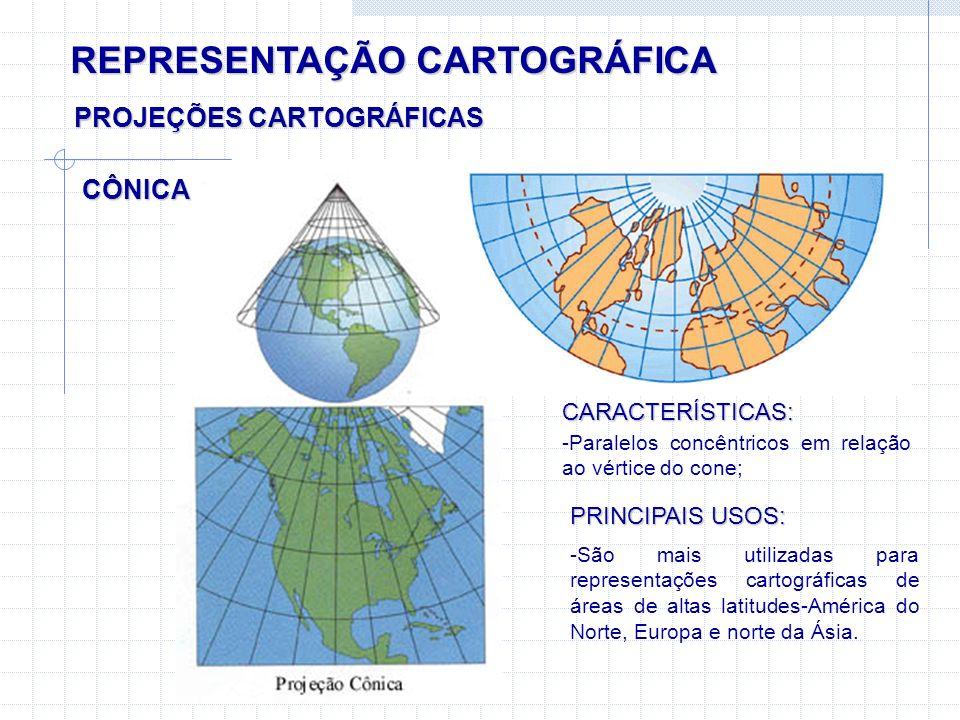 REPRESENTAÇÃO CARTOGRÁFICA CÔNICA PROJEÇÕES CARTOGRÁFICAS CARACTERÍSTICAS: -Paralelos concêntricos em relação ao vértice do cone; PRINCIPAIS USOS: -Sã