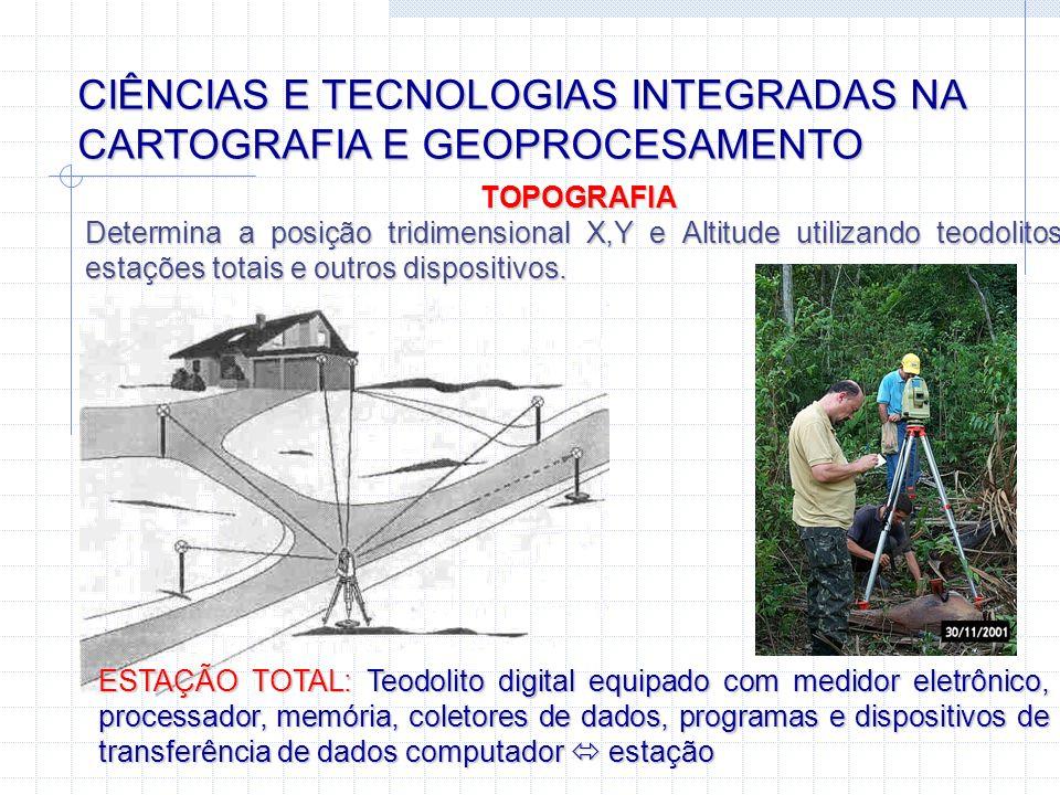 CIÊNCIAS E TECNOLOGIAS INTEGRADAS NA CARTOGRAFIA E GEOPROCESAMENTO GEODESIA Fornece redes de posições geodésicas de alta precisão na superfície da Terra para suporte ao georeferenciamento preciso de informações - Utiliza modelos complexos para a Terra; cálculos matemáticos e estatísticos sofisticados; instrumentos e métodos de alta precisão.