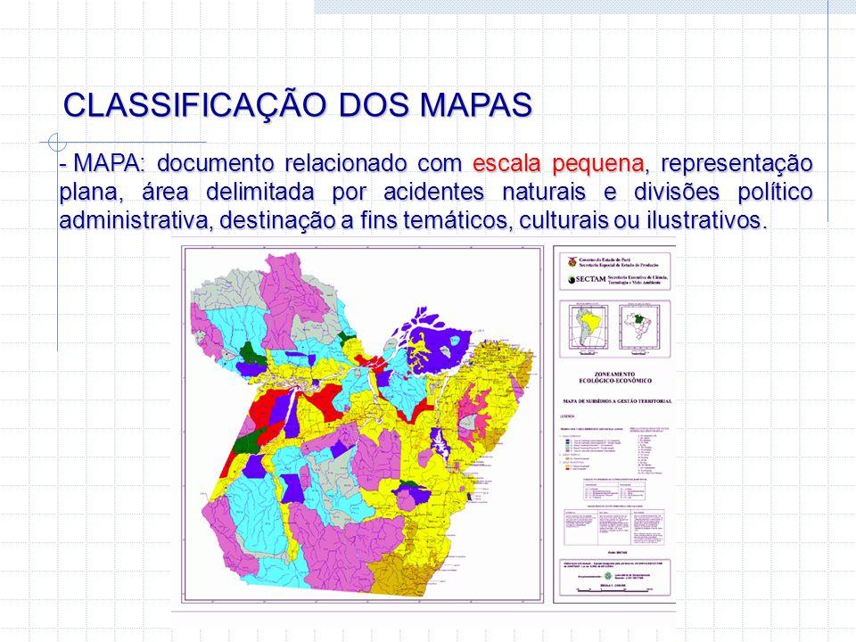 CLASSIFICAÇÃO DOS MAPAS - MAPA: documento relacionado com escala pequena, representação plana, área delimitada por acidentes naturais e divisões polít