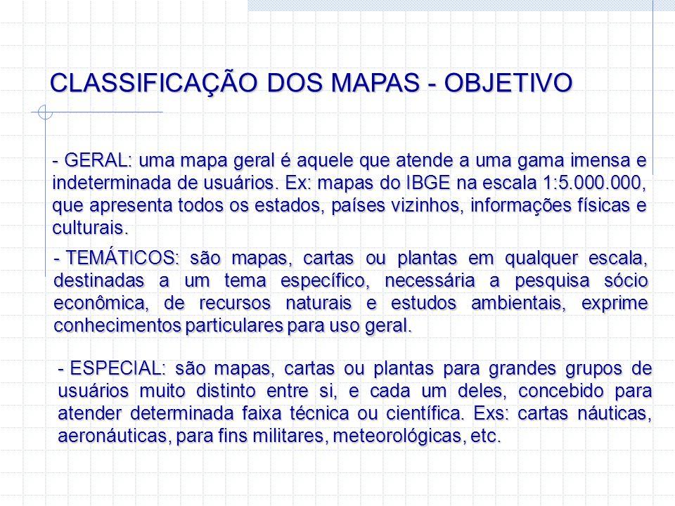 CLASSIFICAÇÃO DOS MAPAS - OBJETIVO - GERAL: uma mapa geral é aquele que atende a uma gama imensa e indeterminada de usuários. Ex: mapas do IBGE na esc