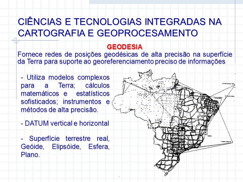 CIÊNCIAS E TECNOLOGIAS INTEGRADAS NA CARTOGRAFIA E GEOPROCESAMENTO SISTEMA DE POSICIONAMENTO GLOBAL - GPS Fornece posições geográficas com diferentes níveis de precisão (desde 30 metros até alguns milímetros) SEGMENTO ESPACIAL 24 satélites 20.000 km de altitude Função: transmitir sinais GPS