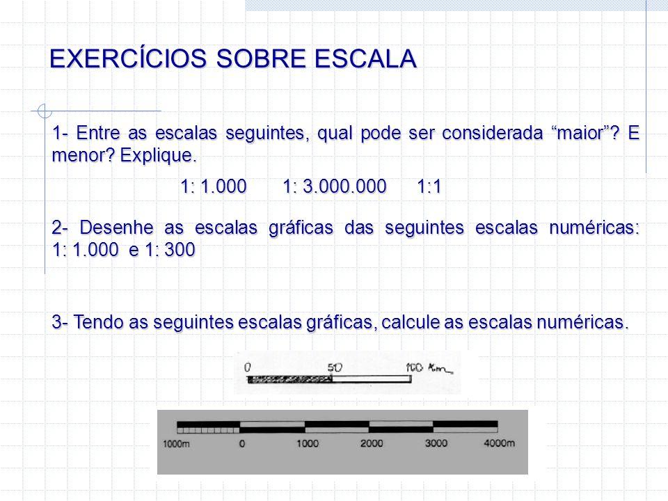 EXERCÍCIOS SOBRE ESCALA 1- Entre as escalas seguintes, qual pode ser considerada maior? E menor? Explique. 1: 1.000 1: 3.000.000 1:1 2- Desenhe as esc