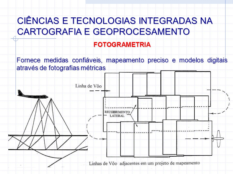 CIÊNCIAS E TECNOLOGIAS INTEGRADAS NA CARTOGRAFIA E GEOPROCESAMENTO FOTOGRAMETRIA Fornece medidas confiáveis, mapeamento preciso e modelos digitais atr