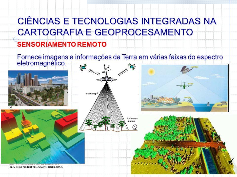 CIÊNCIAS E TECNOLOGIAS INTEGRADAS NA CARTOGRAFIA E GEOPROCESAMENTO SENSORIAMENTO REMOTO Fornece imagens e informações da Terra em várias faixas do esp
