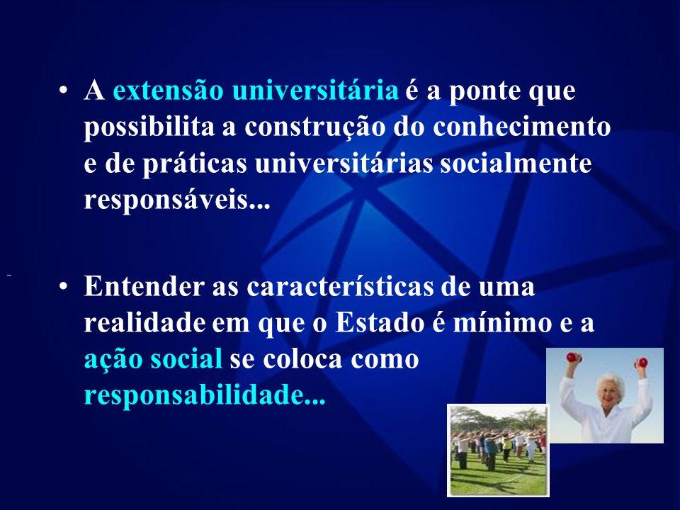 A extensão universitária é a ponte que possibilita a construção do conhecimento e de práticas universitárias socialmente responsáveis...