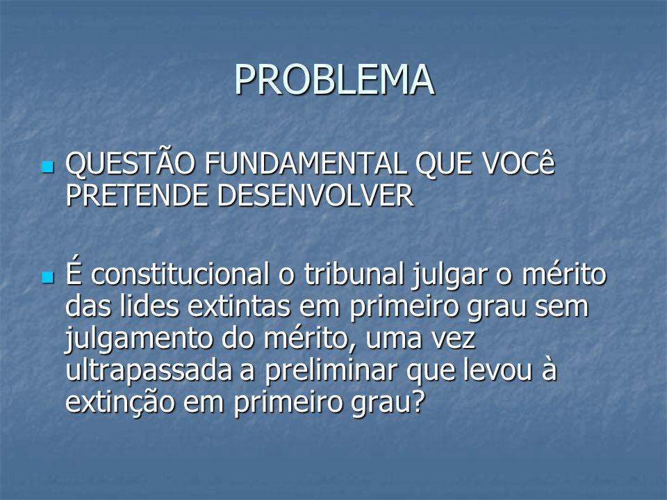 PROBLEMA QUESTÃO FUNDAMENTAL QUE VOCê PRETENDE DESENVOLVER QUESTÃO FUNDAMENTAL QUE VOCê PRETENDE DESENVOLVER É constitucional o tribunal julgar o méri