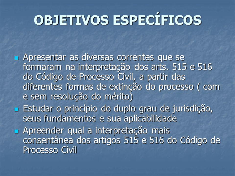 OBJETIVOS ESPECÍFICOS Apresentar as diversas correntes que se formaram na interpretação dos arts. 515 e 516 do Código de Processo Civil, a partir das