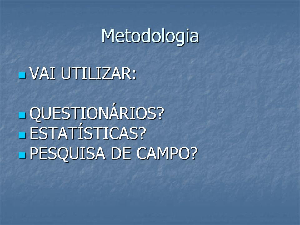 Metodologia VAI UTILIZAR: VAI UTILIZAR: QUESTIONÁRIOS? QUESTIONÁRIOS? ESTATÍSTICAS? ESTATÍSTICAS? PESQUISA DE CAMPO? PESQUISA DE CAMPO?