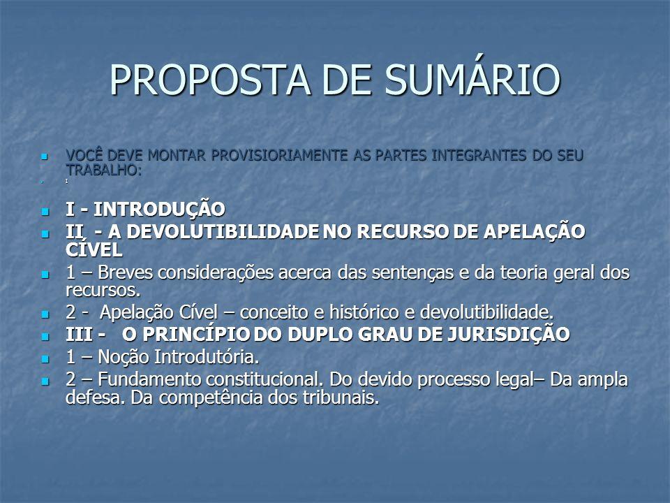 PROPOSTA DE SUMÁRIO VOCÊ DEVE MONTAR PROVISIORIAMENTE AS PARTES INTEGRANTES DO SEU TRABALHO: VOCÊ DEVE MONTAR PROVISIORIAMENTE AS PARTES INTEGRANTES D