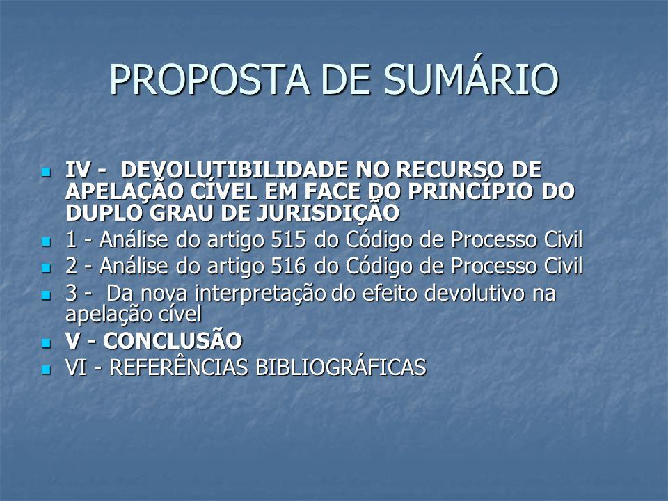 PROPOSTA DE SUMÁRIO IV - DEVOLUTIBILIDADE NO RECURSO DE APELAÇÃO CÍVEL EM FACE DO PRINCÍPIO DO DUPLO GRAU DE JURISDIÇÃO IV - DEVOLUTIBILIDADE NO RECUR