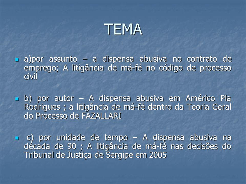 TEMA a)por assunto – a dispensa abusiva no contrato de emprego; A litigância de má-fé no código de processo civil a)por assunto – a dispensa abusiva n