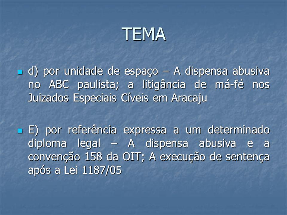 TEMA d) por unidade de espaço – A dispensa abusiva no ABC paulista; a litigância de má-fé nos Juizados Especiais Cíveis em Aracaju d) por unidade de e