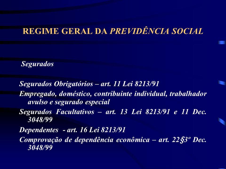 REGIME GERAL DA PREVIDÊNCIA SOCIAL Segurados Segurados Obrigatórios – art.