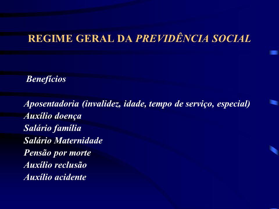 REGIME GERAL DA PREVIDÊNCIA SOCIAL Benefícios Aposentadoria (invalidez, idade, tempo de serviço, especial) Auxílio doença Salário família Salário Maternidade Pensão por morte Auxílio reclusão Auxílio acidente