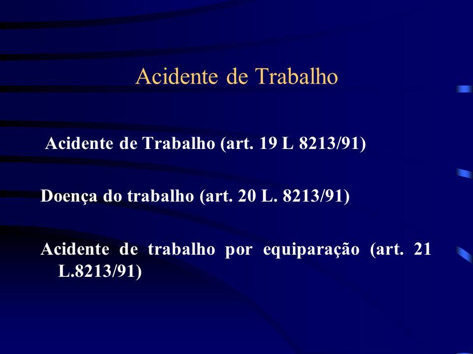 Acidente de Trabalho Acidente de Trabalho (art.19 L 8213/91) Doença do trabalho (art.