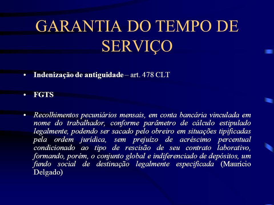 GARANTIA DO TEMPO DE SERVIÇO Indenização de antiguidade – art.
