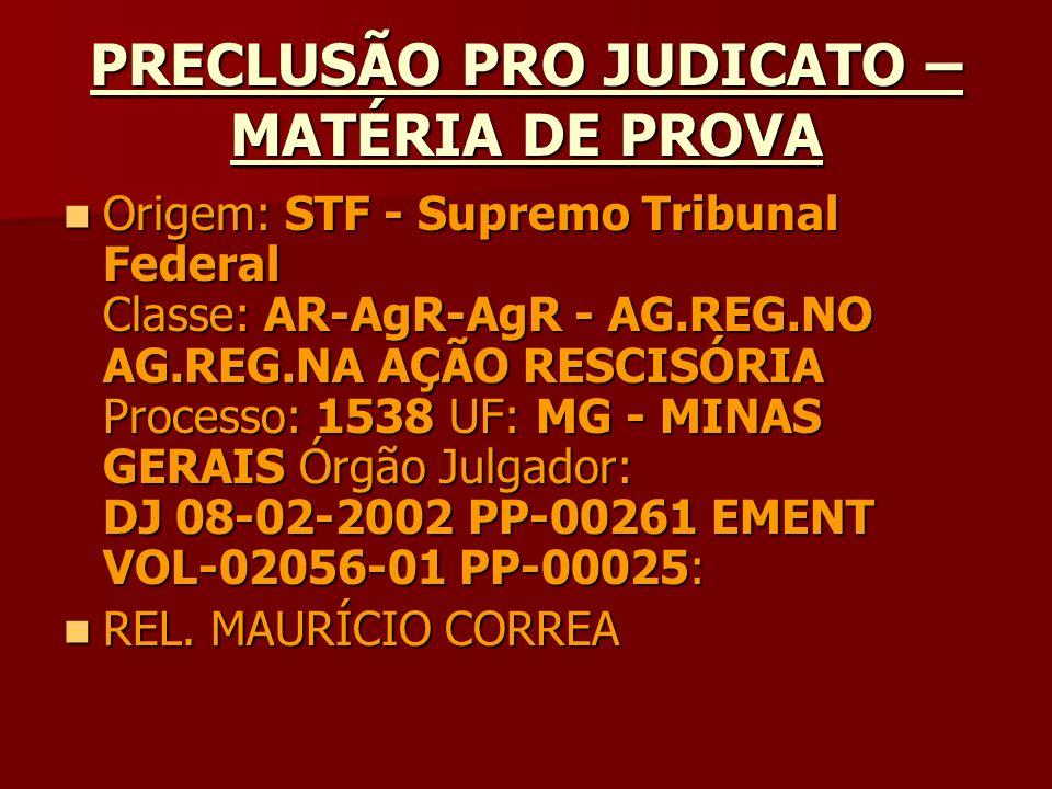 PRECLUSÃO PRO JUDICATO – MATÉRIA DE PROVA Origem: STF - Supremo Tribunal Federal Classe: AR-AgR-AgR - AG.REG.NO AG.REG.NA AÇÃO RESCISÓRIA Processo: 15