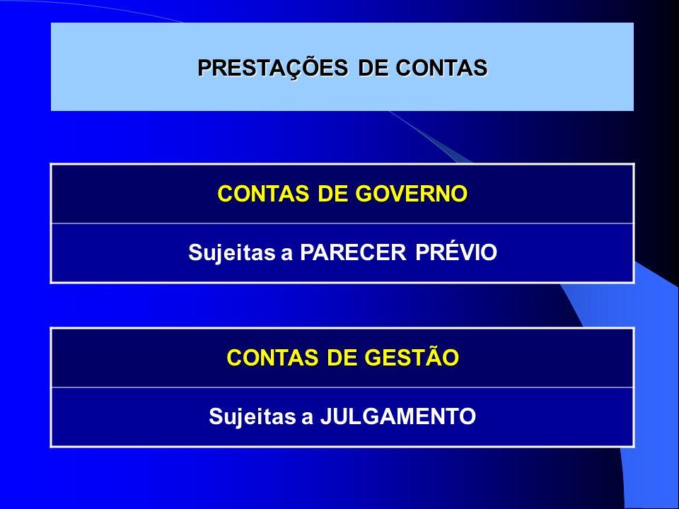 PRESTAÇÕES DE CONTAS CONTAS DE GOVERNO Sujeitas a PARECER PRÉVIO CONTAS DE GESTÃO Sujeitas a JULGAMENTO
