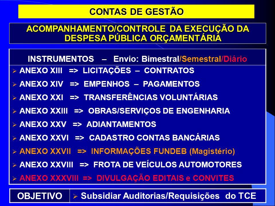 CONTAS DE GESTÃO ACOMPANHAMENTO/CONTROLE DA EXECUÇÃO DA DESPESA PÚBLICA ORÇAMENTÁRIA INSTRUMENTOS – Envio: Bimestral/Semestral/Diário ANEXO XIII => LI