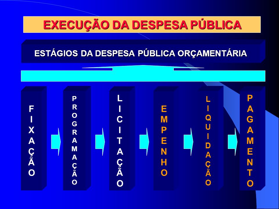 EXECUÇÃO DA DESPESA PÚBLICA ESTÁGIOS DA DESPESA PÚBLICA ORÇAMENTÁRIA FIXAÇÃOFIXAÇÃO PROGRAMAÇÃOPROGRAMAÇÃO LIQUIDAÇÃOLIQUIDAÇÃO EMPENHOEMPENHO PAGAMEN